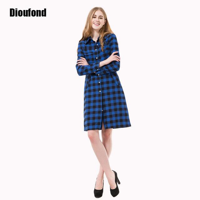 Dioufond otoño mujeres dress casual dress vestidos largos de manga larga a cuadros vestidos de oficina vestidos robe longue femme plus tamaño 2016