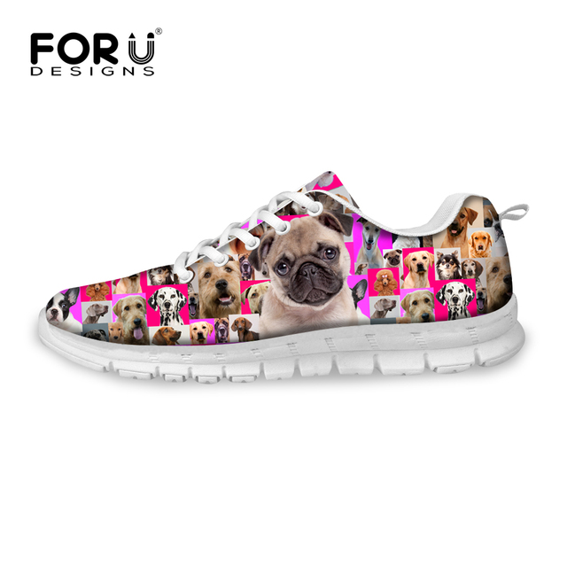 2016 Spring Summer Women Casual Shoes Animal Pet Dog Rottweiler Print Breathable Outdoor Sport Flat Shoes Leisure Walking Shoes