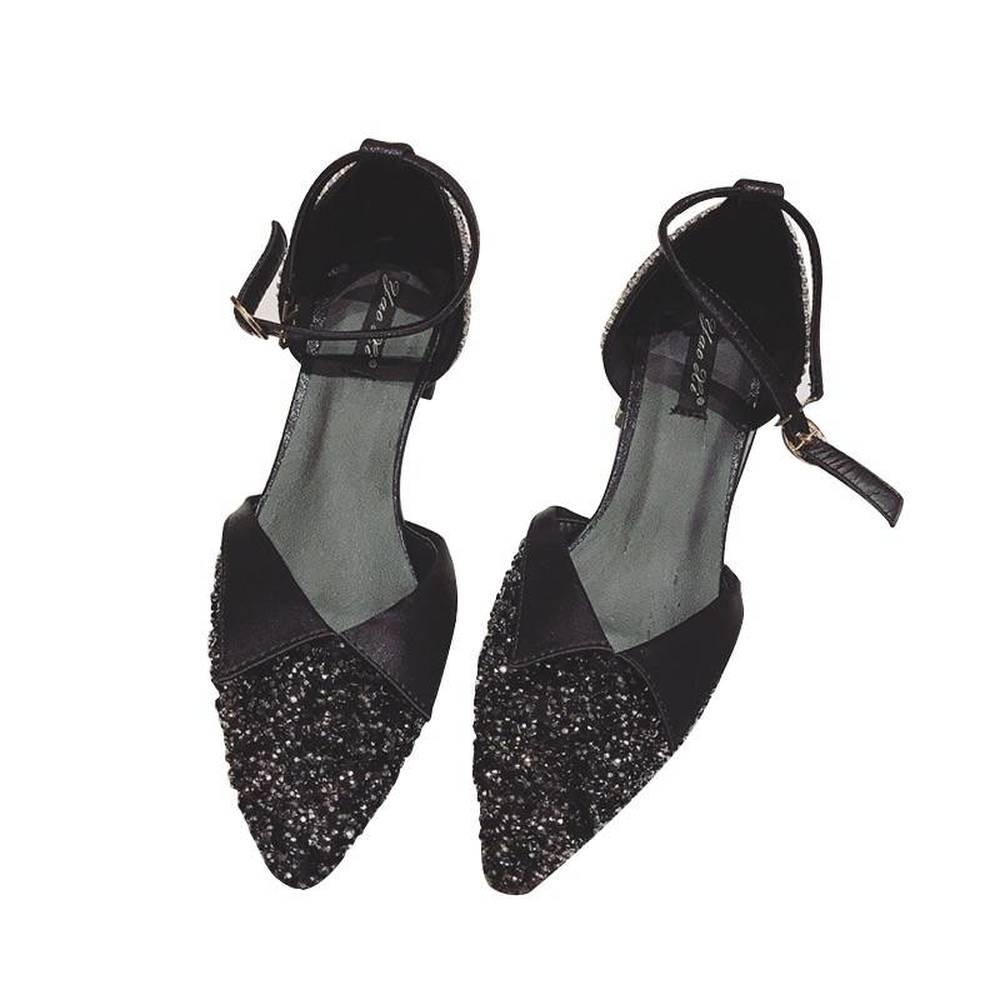 La Lentejuelas Boca Hebilla Baja Bombas Bling 2018 En Arco Dulce Black Otoño silver Calle El Las De Y Casual Primavera Moda Zapatos Punta Mujeres COx67qd