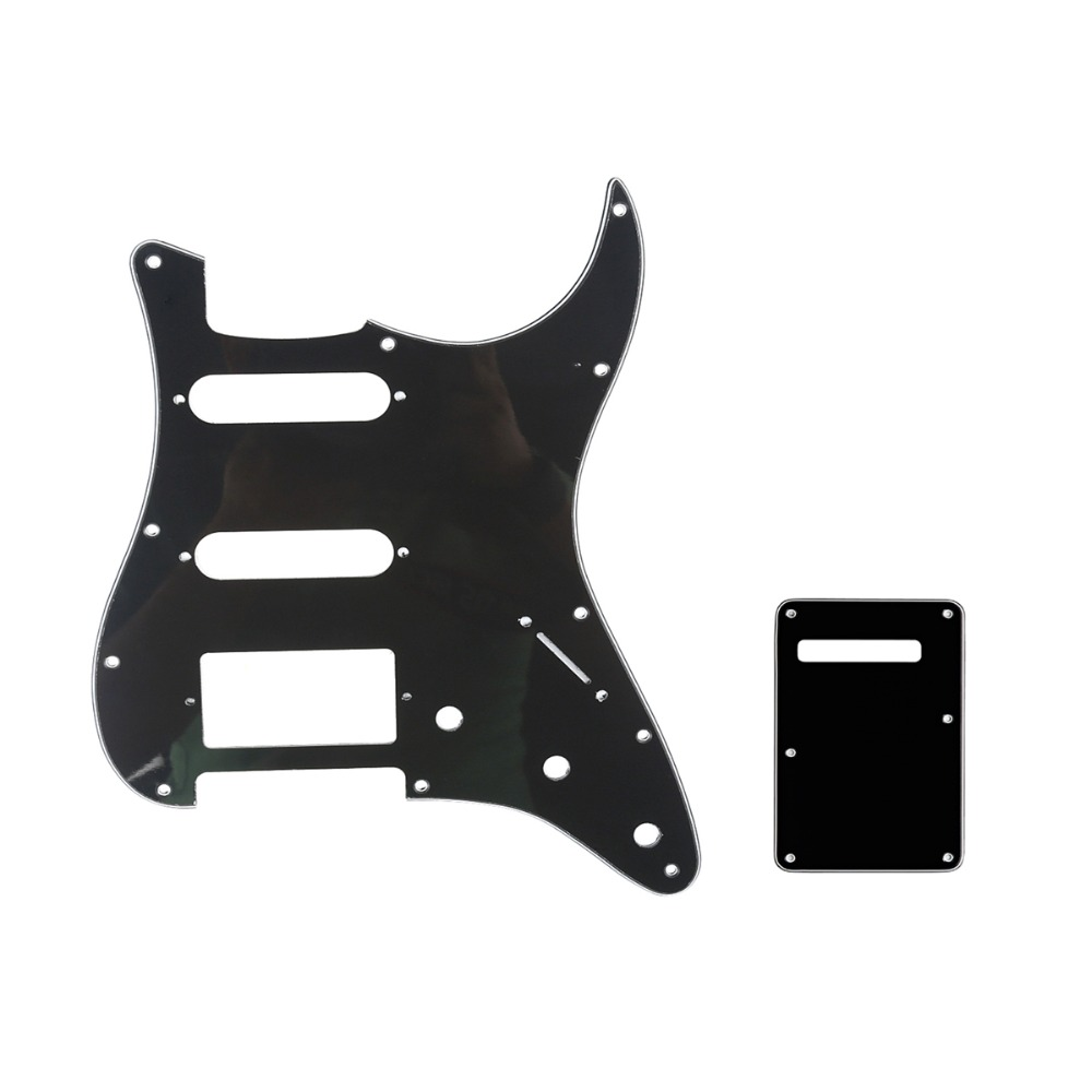 Musiclily HSS 11 Holes Strat Guitar Pickguard and BackPlate Set for Fender Stratocaster Strat ST Guitar Parts fender deluxe strat pf blk