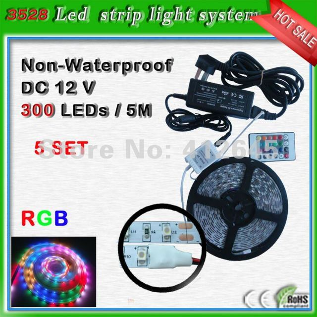 RGB flexible strip light complete set with power supply_free shipping 5m SMD3528 led neon rope light 60 leds/m