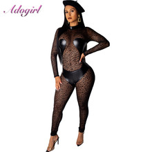 Sexy Black PU Leather Sheer Mesh Lace Jumpsuit Women Summer Female Overalls Outfit Casual Leopard Print Night Party Club Romper