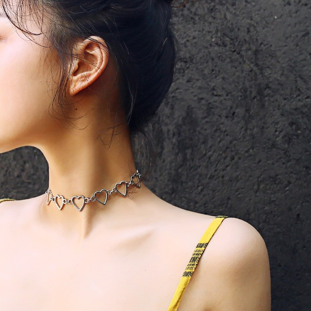 Ingemark Korean Sweet Love Heart Choker Necklace Statement Girlfriend Gift Cute Silver Color Necklace Jewelry Collier Femme 2020
