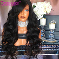 2017 Glueless Virgin Brazilian 150 Density Human Hair Full Lace Wigs with Side Bangs Natural Looking Loose Wave Lace Front Wig