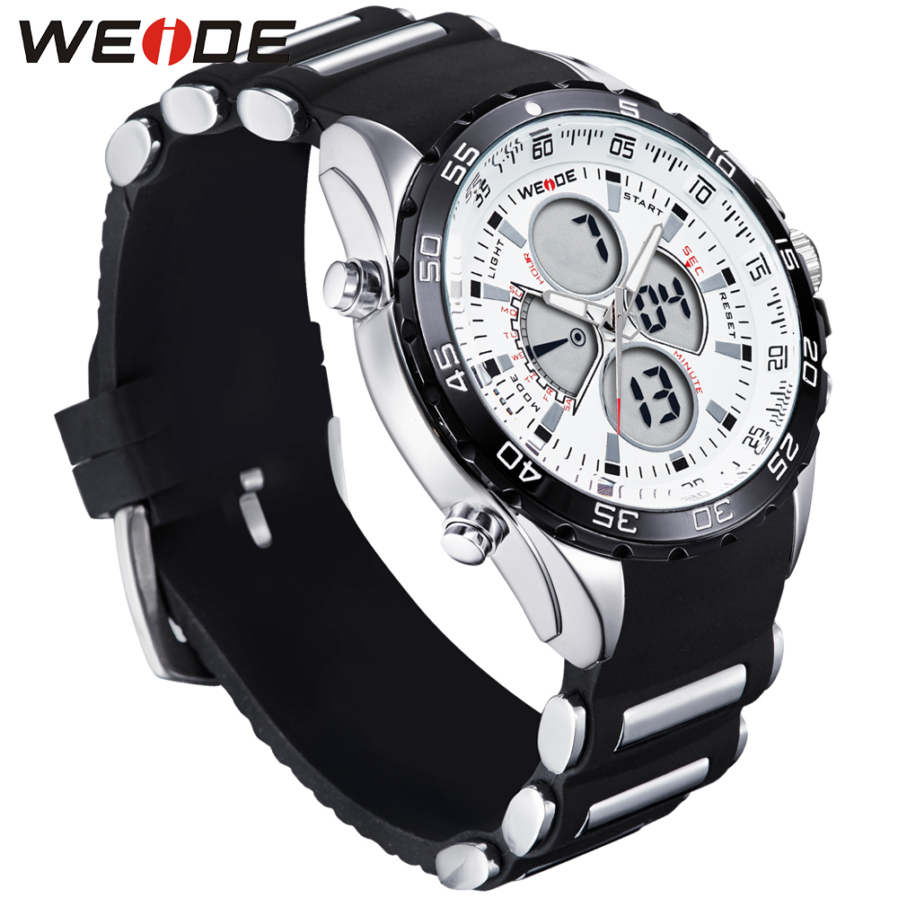 Weide Genuine men shockproof waterproof electronic watch black in quartz men sports LCD chronograph relogio automatico masculin in Quartz Watches from Watches