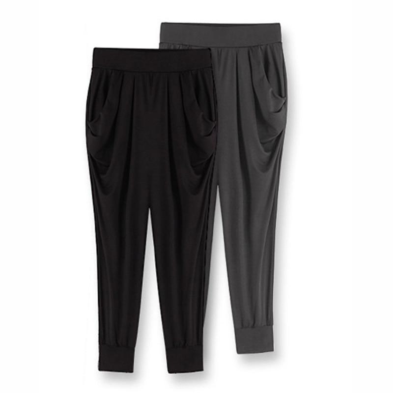 Big Size M-6XL Lady Loose Harem Pants 2018 Calf-Length Elastic Waist Milk Silk Women Casual Trousers Summer Black Capris