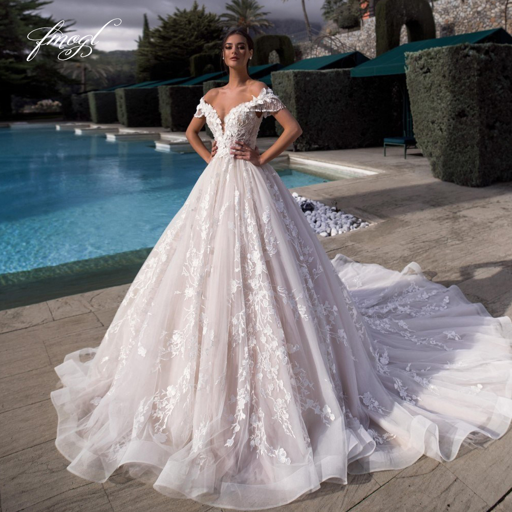 Fmogl Sexy Illusion Boat Neck Tassel Sleeve A Line Wedding Dresses 2019 Appliques Beaded Chapel Train A Line Vintage Bridal GownWedding Dresses   -