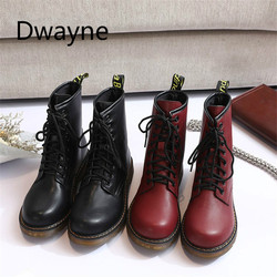 Dwayne 2018 Leather Women Boots Dr Martin Boots Shoes High Top Motorcycle Autumn Winter Shoes Woman Snow Lace Up Boots