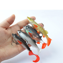 TOMA 4PCS T Tail Lead Head Fish Fishing Lures Soft Bait 9g /13g/14g Mix Sea Fishing Tackle Bass Bait  With Treble Hooks