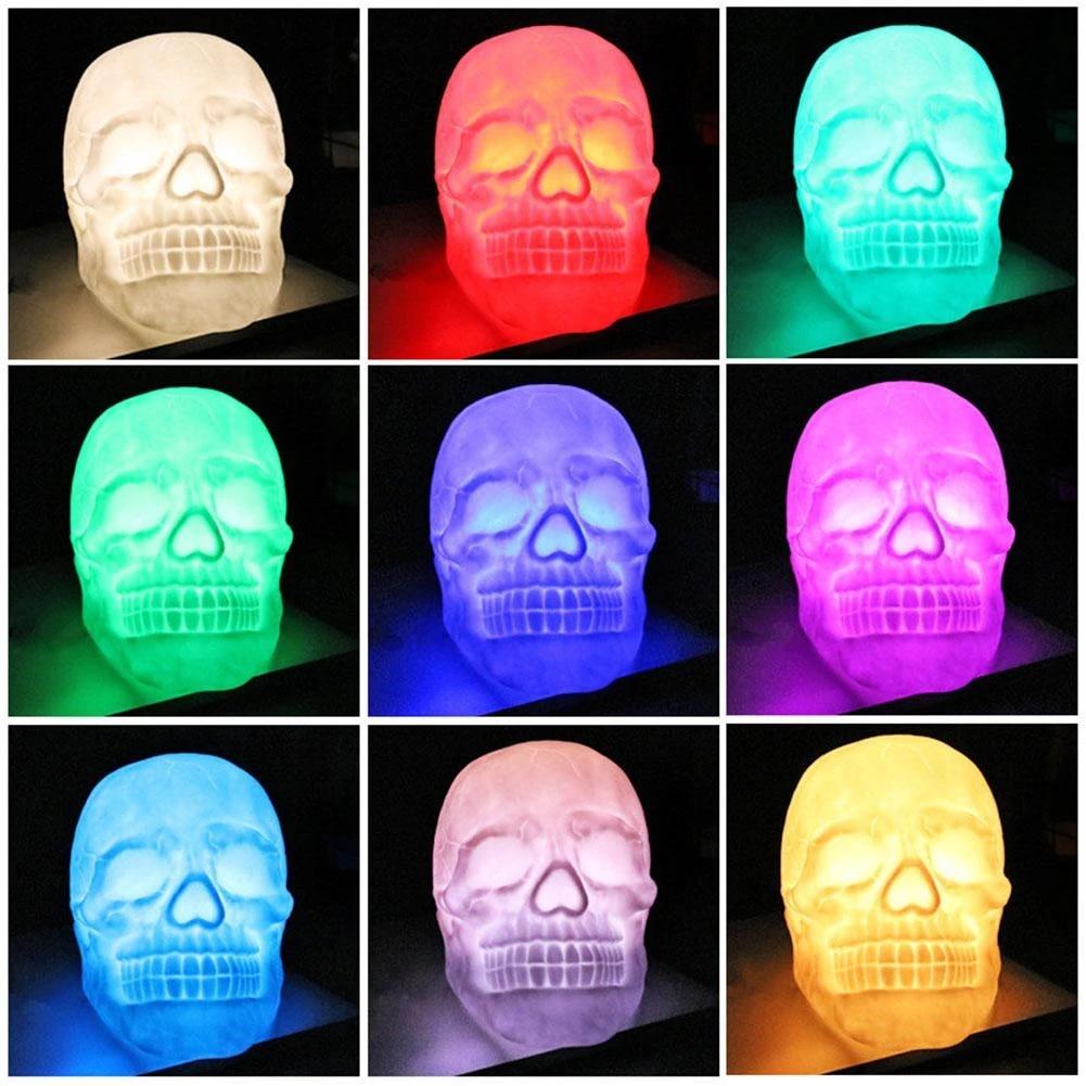 Night Light Skull Head Gift USB Charging Home Colorful LED Patting Halloween