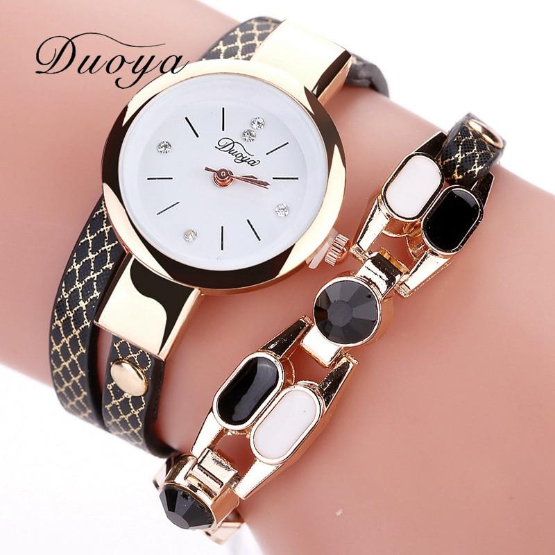 Duoya Brand Women Dress Quartz Watch Hot Fashion Rhinestones Leather Strap Bracelet Female Wristwatch Ladies Casual Sport Watch цена