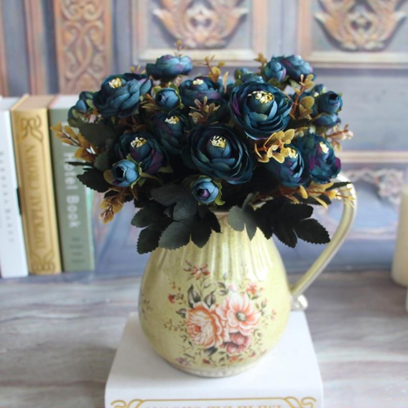 Flor Artificial Falso Peônia Vívida 6 Cabeça Outono Casa Sala de Noiva Hortênsia Decoração UM