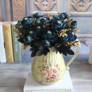 Blue rose Artificial Flower Fake Peony Vivid Bouquet Peony 6 Head Autumn Home Room Bridal Hydrangea Home Decoration CF