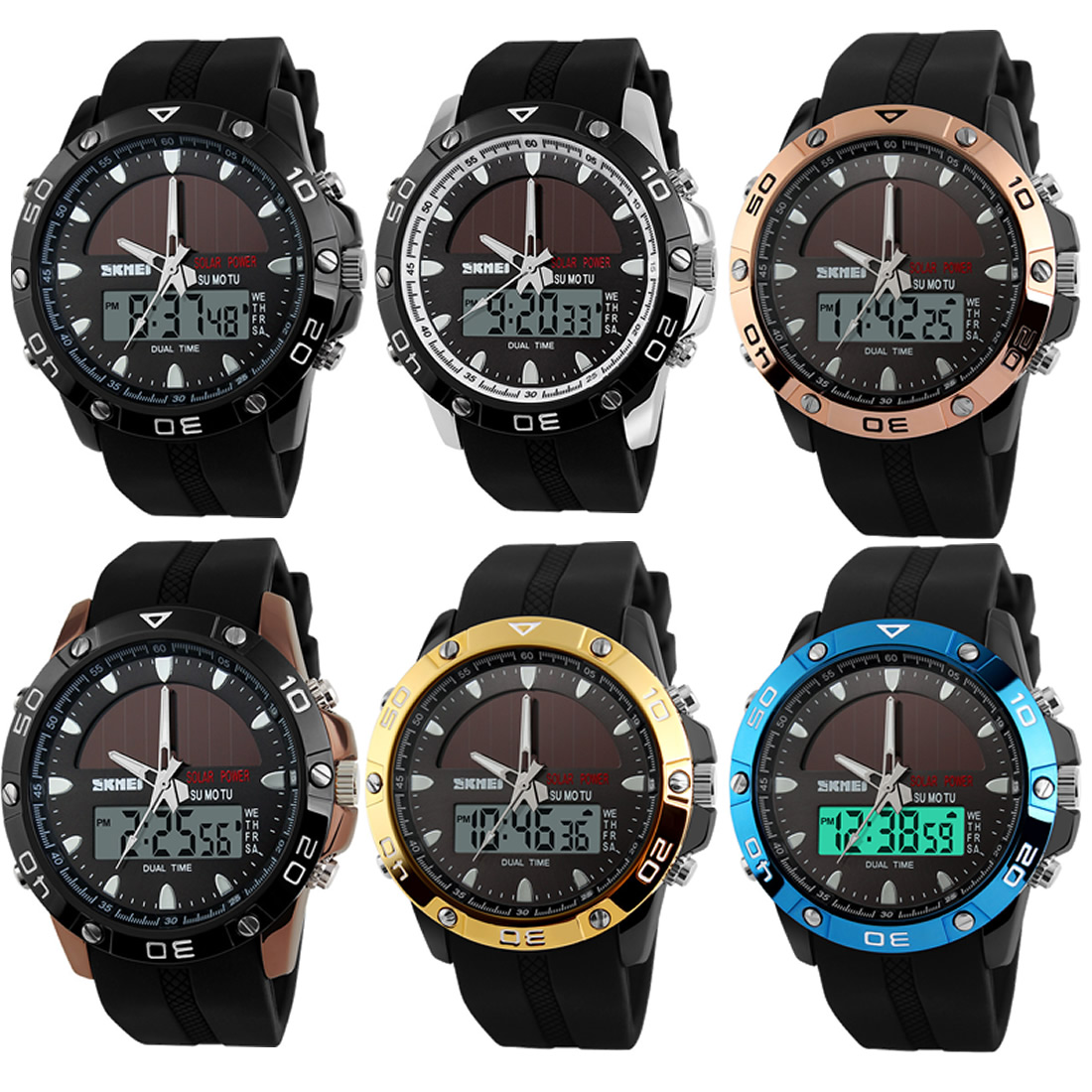 New silver electronic wristwatch outdoor dual time men sport watch silicone band adjustable LED dispaly waterproof limit edition