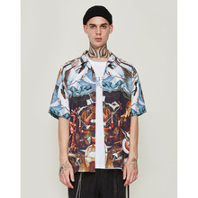 FLAM ONLINE 2019 New Oversize Casual Funny Printed Shirts Couple  Summer Man Short Sleeve Beach Hawaiian