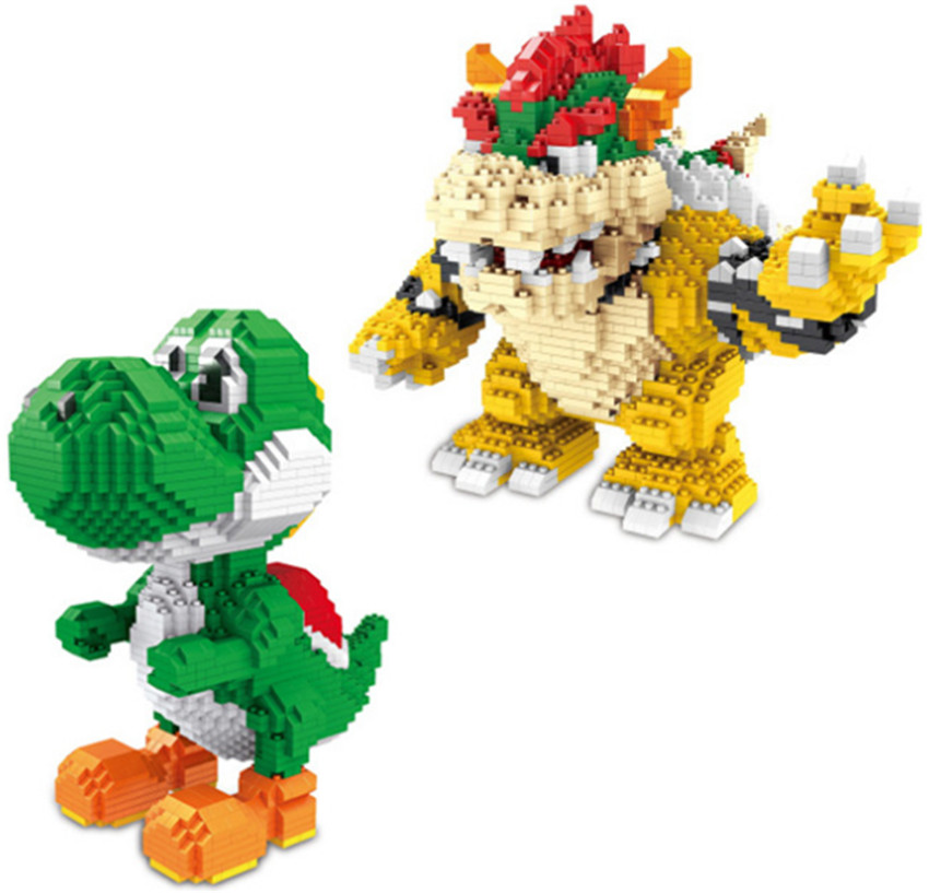 ZMS Magic Blocks Yoshi Mini Blocks Mario bowser Micro blocks Anime DIY Building Toys Juguetes Auction Figures Kids Gifts 3492