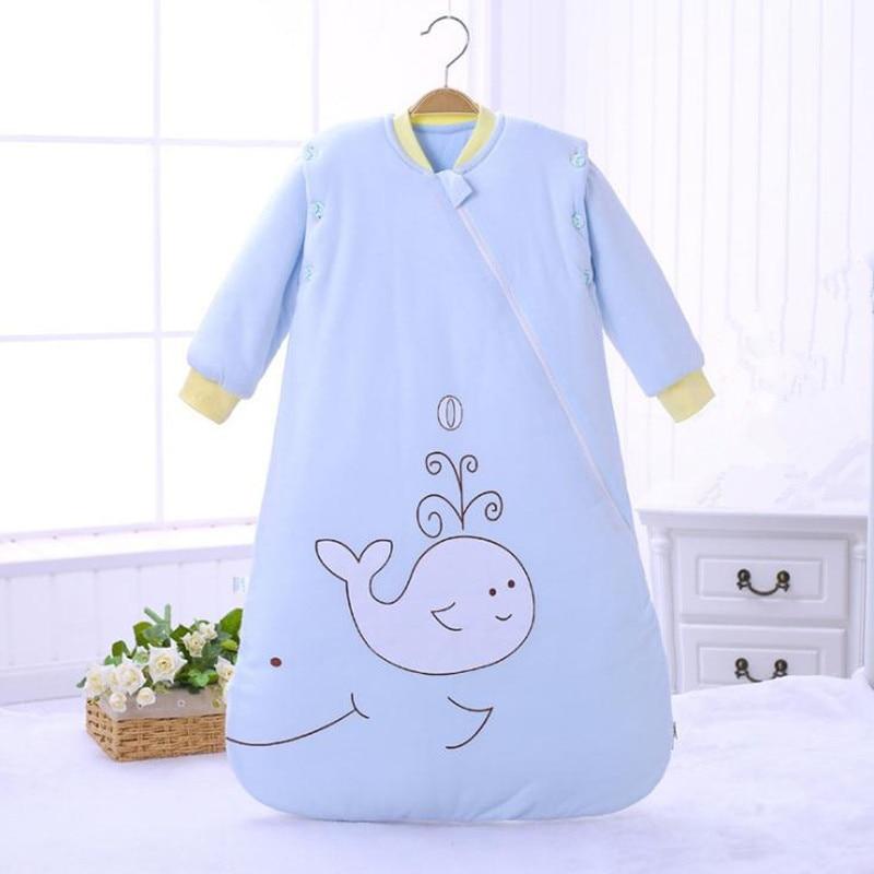 Blue Baby Sleeping Bag Cotton Sleep Sack Long Sleeve Cartoon Partern Newborn Sleeper