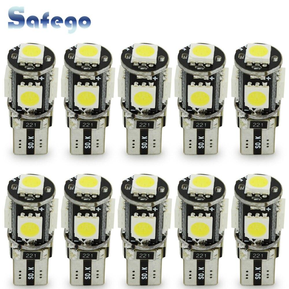 Safego 10 個 LED W5W T10 194 168 Canbus 5050 車の電球 5 SMD エラーバスエラーフリーウェッジ電球インテリアランプオートバイ白 6000 18K