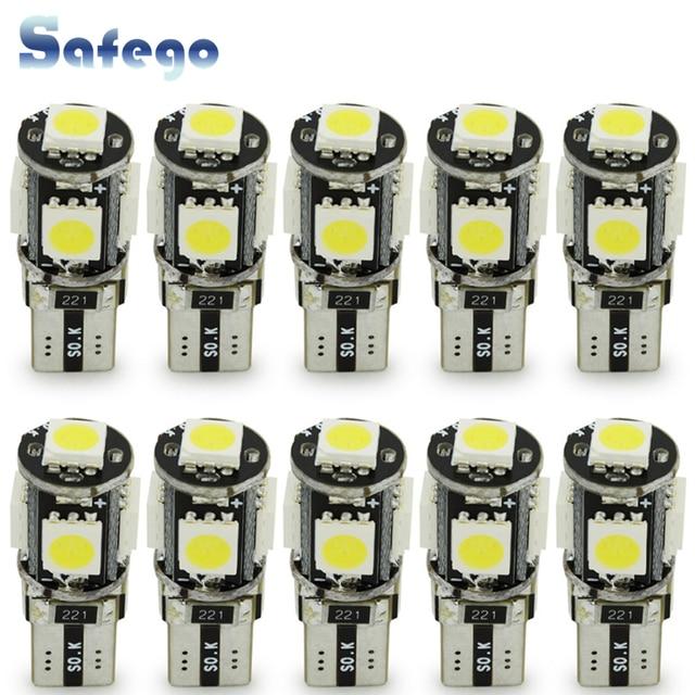 Safego 10pcs LED W5W T10 194 168 Canbus 5050 자동차 전구 5 SMD 오류 무료 웨지 전구 인테리어 램프 오토바이 화이트 6000K