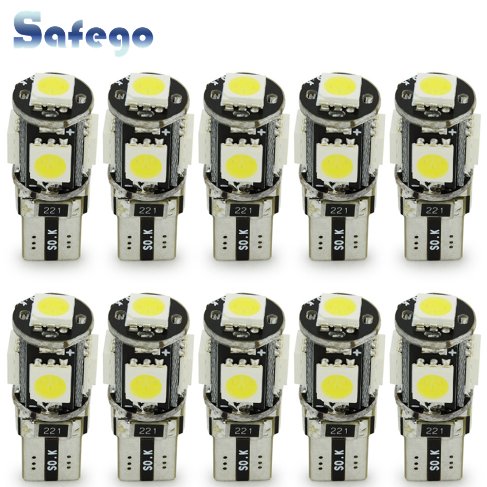 Safego 10pcs LED W5W T10 194 168 Canbus 5050 Car Light Bulbs 5 SMD Error Free Wedge Bulb Interior Lamp Motorcycle White 6000K-in Signal Lamp from Automobiles & Motorcycles