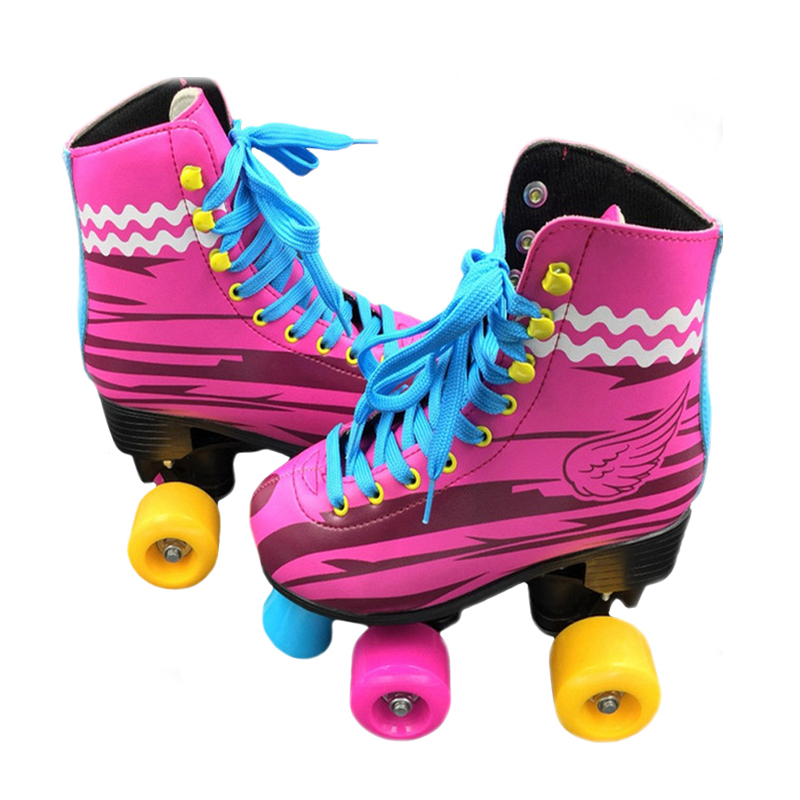 BSTFAMLY Double Roller Skates Size 31-38 Figure Skate Two Line Roller Unisex Patins For Kids / Adult PU wheels Pink Shoes IB100 reniaever double roller skates skating shoe gift girls black wheels roller shoe figure skates white free shipping