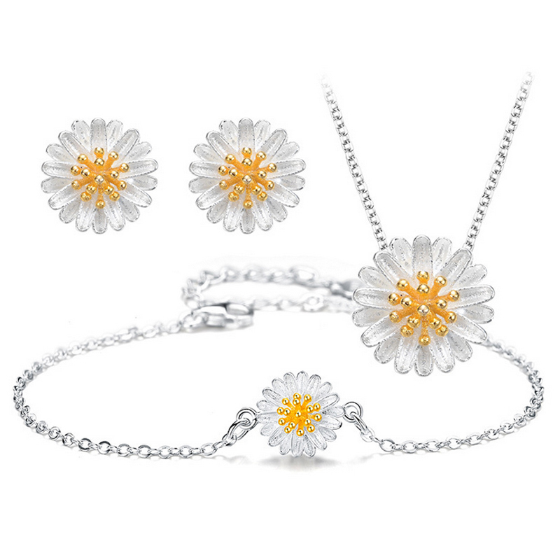 4 piece/set Silver Womens Jewerly Sets With Daisy Jewelry Sets Of White Wedding With 45mm Chain