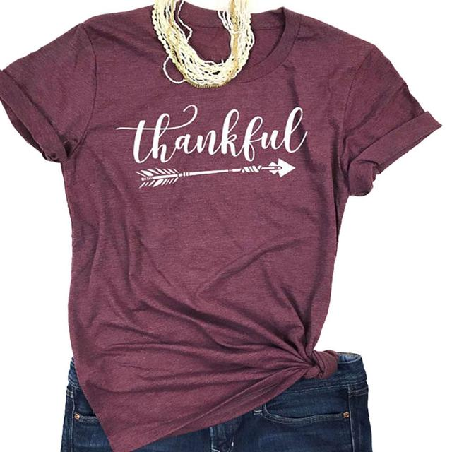 2018 Summer Women T shirt Short Sleeve thankful arrow Letter Print Tee  Female Casual Loose T-Shirt O-Neck Ladies Tops Tee a1f67c43d6