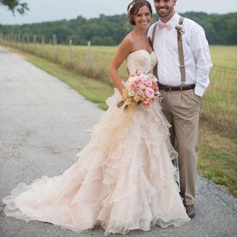 Garden Wedding Gowns: Ivory Garden Wedding Dresses Tiered Country Bridal Dresses