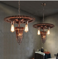 Chandelier Chain Chandeliers Vintage Industrial Terrace Lighting Bulbs American Coffee Vintage Iron Creative Bar Light