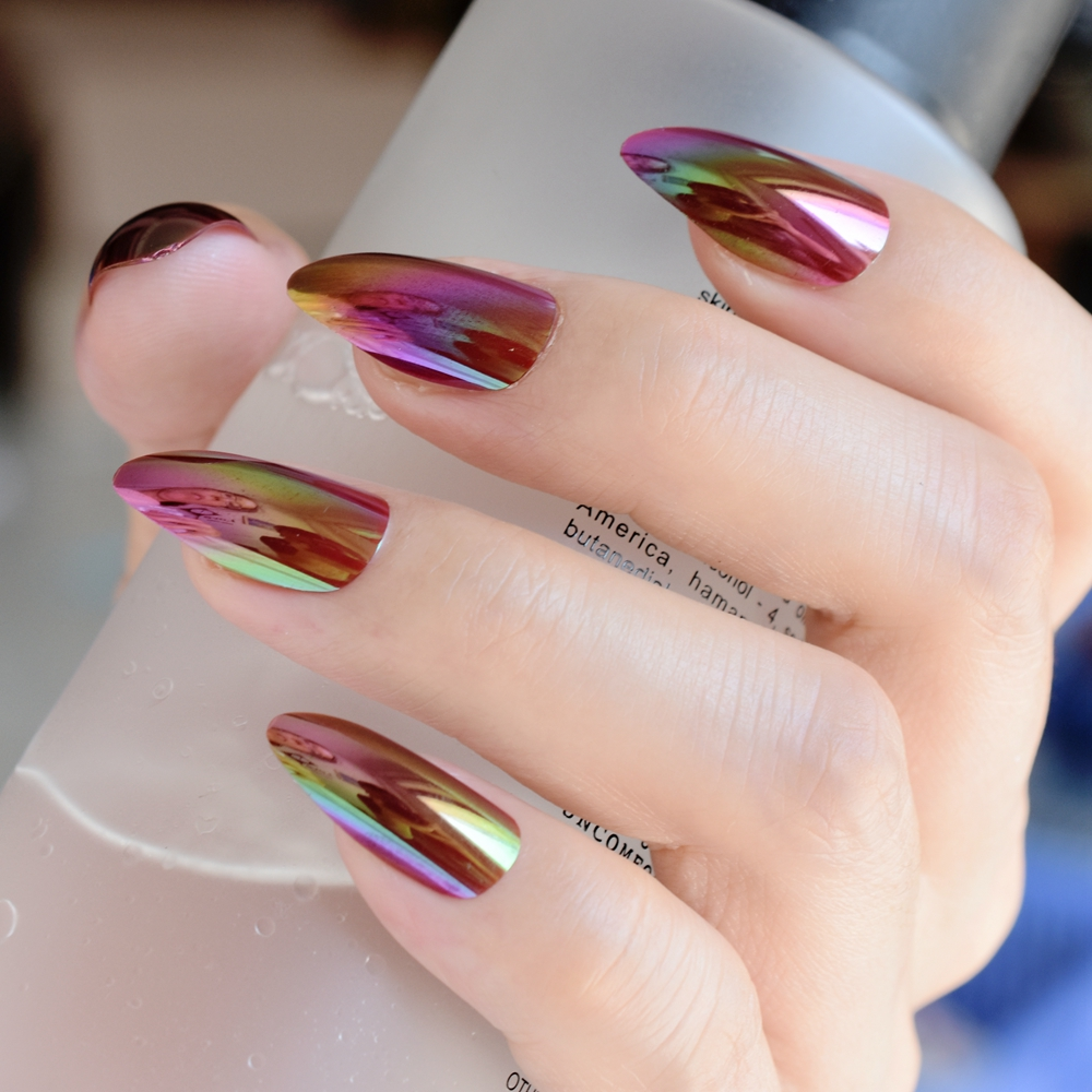 Harga Jual French Nail Tip Guide B Sticker Kuku Stiker Art Fimo Potong Mix Shiny Rainbow Press On Nails Gradient Stiletto Purple Pink Artificial Tips Easily To Use