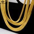 """Мужские от 4 до 14 мм 24 К позолоченные плоским елочка ожерелье застежка омар 20 """" 24 """" 27.5 """" и 30 """" хип-хоп золотой змеи ожерелье"""