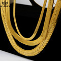 "Mens 4 to 14mm 24K Gold Plated Flat Herringbone Necklace Lobster Clasp 20"" 24"" 27.5"" & 30"" Hiphop Golden Snake Necklace"