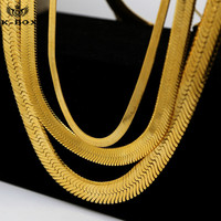 24K Gold Plated Usher HERRINGBONE Chain 6 10 14mm Width 30inch Hiphop Herringbone Chain Fashion Golden
