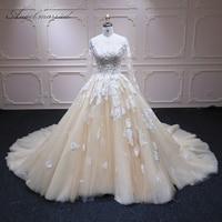 Angel married long sleeve wedding dress vestido de noiva Lace Bridal Dress Gown Custom Made Lace up champagne Wedding Dress
