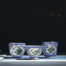 Jia-gui luo China Jingdezhen Blue and White Porcelain Hand-painted Kung Fu Teacup Leisure Essential Tea Set Household Items