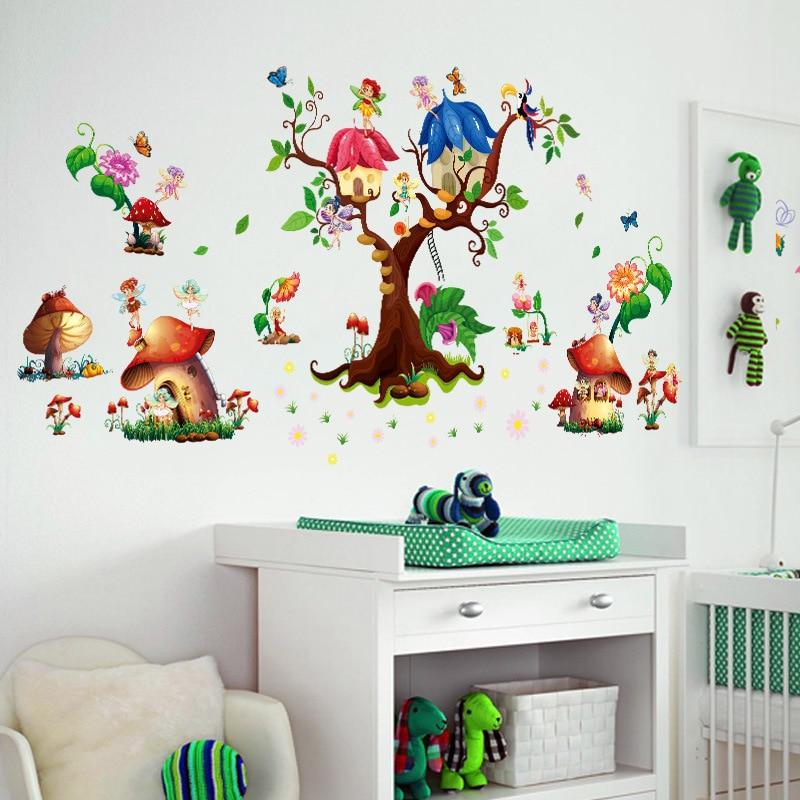 Lovely Pink Fairy Swing Deer Flower Wall Sticker Children Girl Bedroom Decor