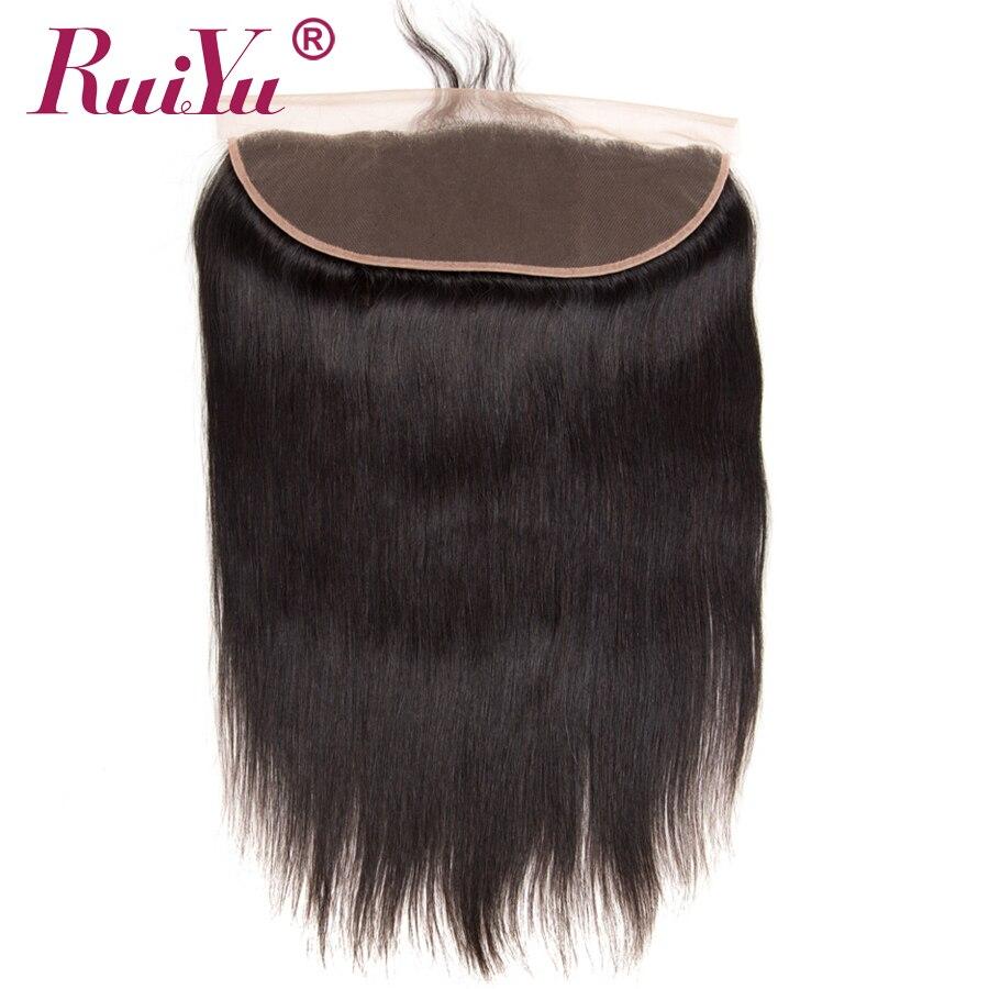 RUIYU Peruvian Straight Hair Lace Frontal Closure Ear To Ear Swiss Lace Human Hair Closure With