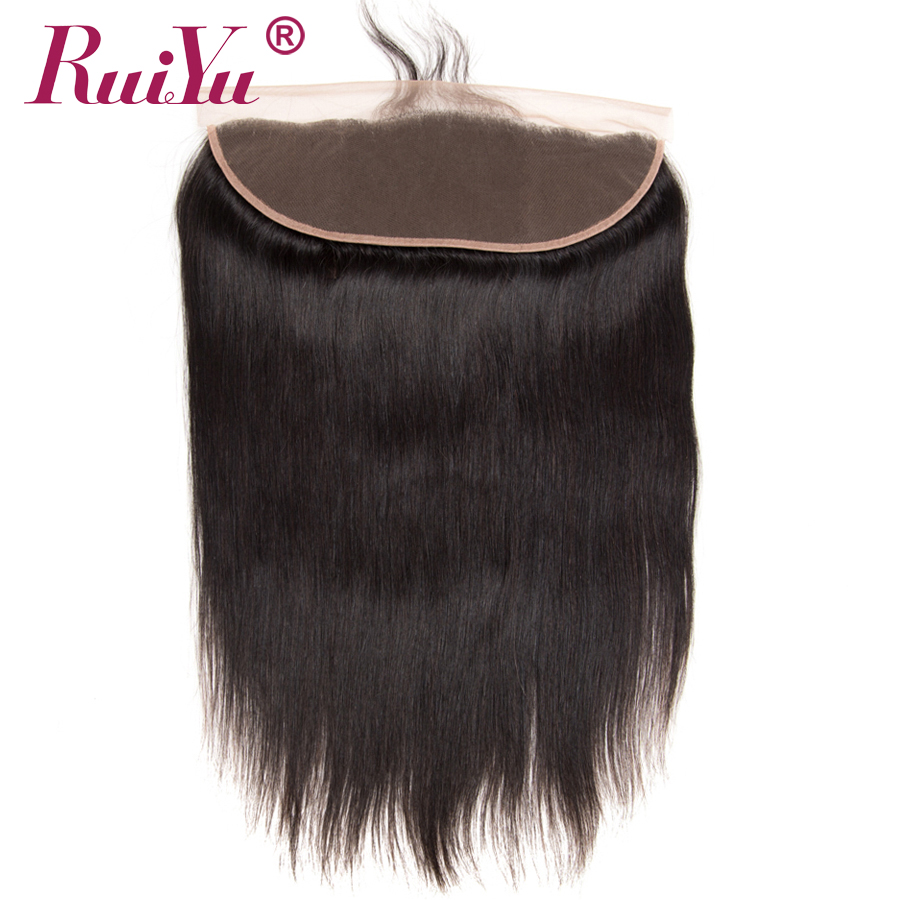 RUIYU Peruvian Straight Hair Blonde Frontal Closure Øre til Øre Swiss Blonde Menneskehår Closure Med Baby Hair Non Remy Hair