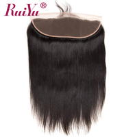 RUIYU Peruvian Straight Hair Lace Frontal Closure Ear To Ear Swiss Lace Human Hair Closure With Baby Hair Non Remy Hair