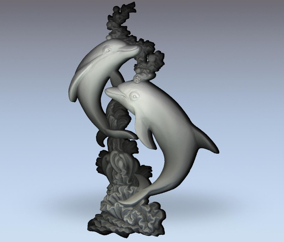 3d Model Relief  For Cnc In STL File Format Dolphins
