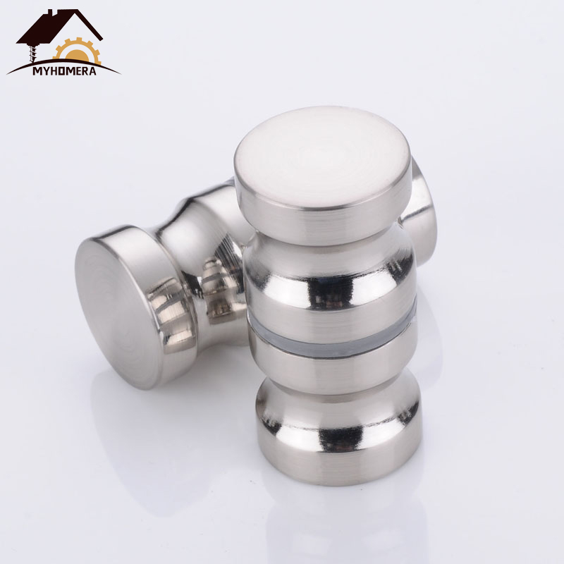 Myhomera Door Handle Glass Door Knob Puller Push Bathroom Shower Cabinet Handles Dia 1.2'' Aluminum Brushed / Silver W/ Screw