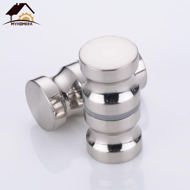 Myhomera Door Handle Glass Door Knob Puller Push Bathroom Shower Cabinet Handles Dia 1.2'' Aluminum Brushed / Silver W/ Screw