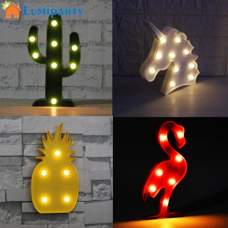 LumiParty 3D LED Night Light Unicorn/Flamingo/Cactus/Pineapple Desk Table Night Lamp Decorative For Kids Children Room jk35