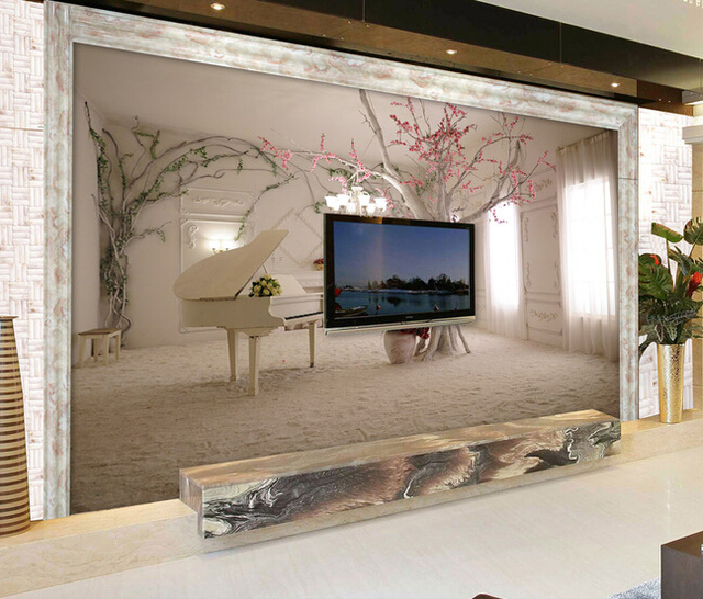Custom 3 d wallpaper, piano snow for the sitting room the bedroom TV ...