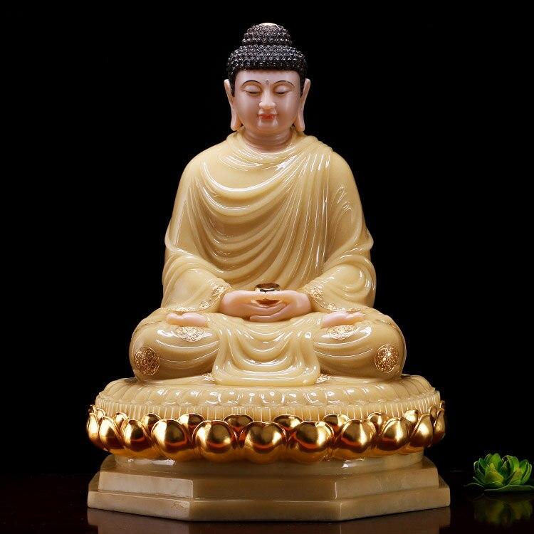 48CM LARGE- Buddhist high-grade home TOP efficacious Talisman Mascot RULAI Amitabha Buddha jade gilding carving Sculpture statue