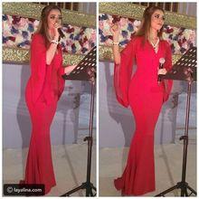 2017 Meerjungfrau Dubai Prom Abendkleid Roten Chiffon Günstige Lange Günstige Prom Abendkleider Trompete Abschlussball-partei-kleid