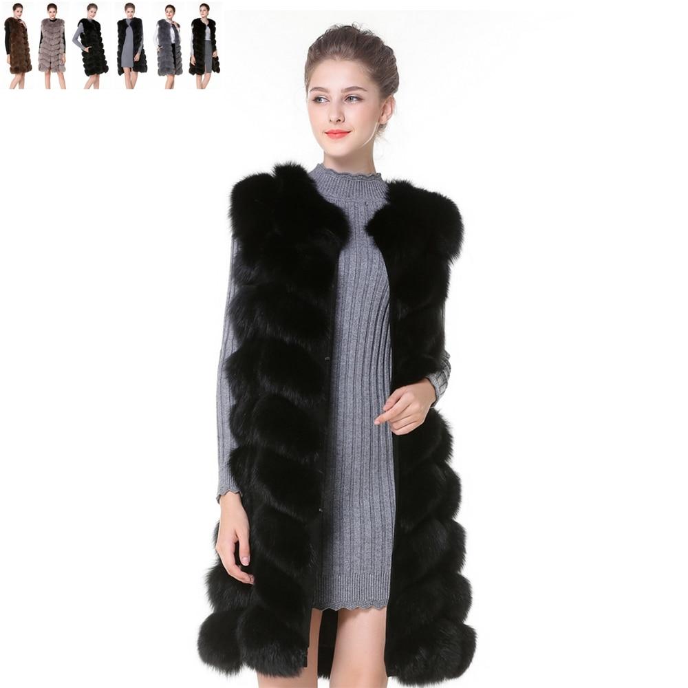 Real Fur Vest And Coats Fox Fur Coats Women Natural Fox Fur Vest 90CM Womens Black Real Fox Fur Vest Long Coat ShipBy DHL 5 Days