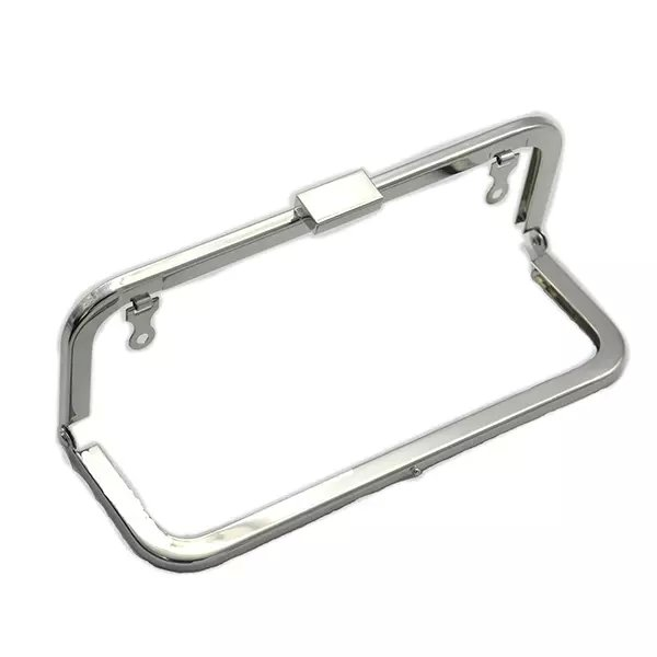 7 x 2.5 inches (18 x 6.5 cm) - Silver Clutch Purse Frame with Chain Loops