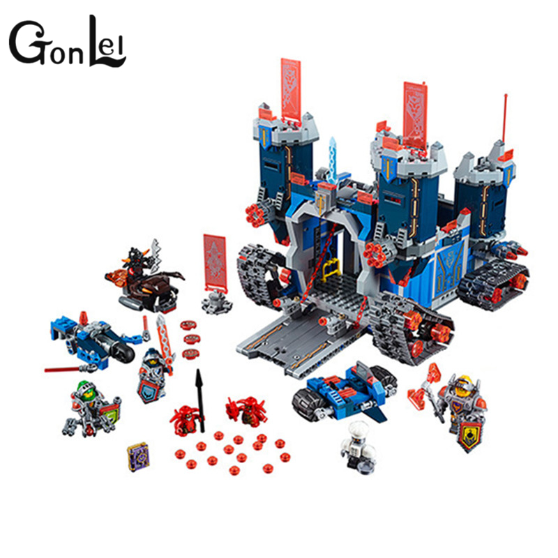 GonLeI 1166Pcs Nexus Knights The Fortrex Castle Building Block Clay Aaron Fox Axl  Compatible with lepin gift 70317 Educational 1 pcs knights building block minifigures axl clay macy lance aaron jestro figures kids gift compatible nexus legoelieds dg884