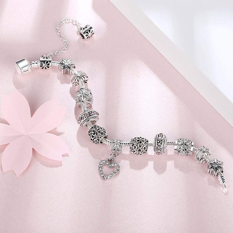 2018 Kualitas Tinggi Pesona Jantung Beads fit Asli Gelang Perak - Perhiasan fashion - Foto 6